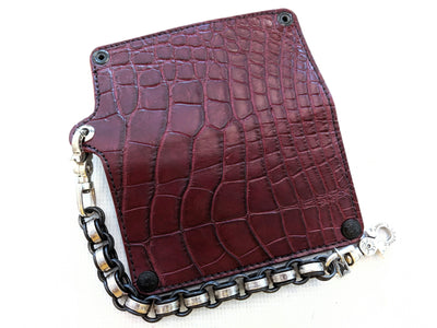 Long Biker Leather Chain Wallet - Burgundy Alligator 4 - Anvil Customs