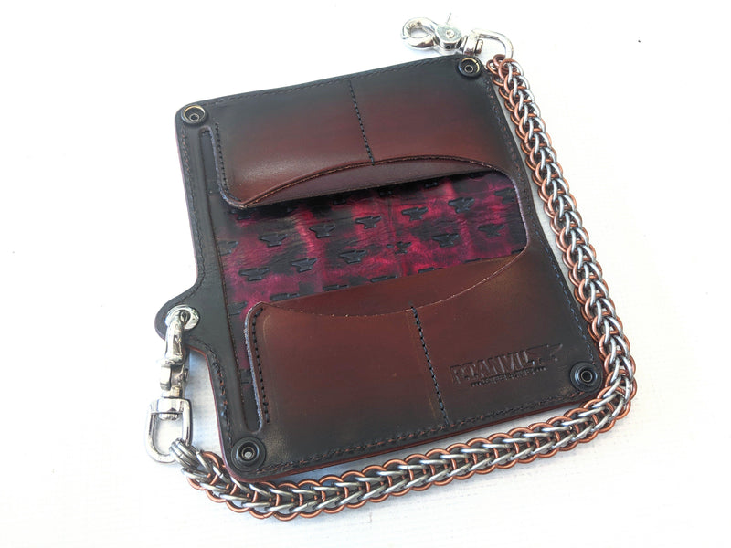 Long Biker Leather Chain Wallet - Burgundy Alligator 6 - Anvil Customs
