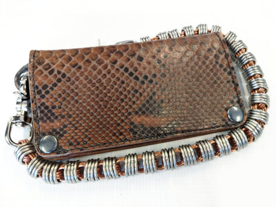 Long Biker Leather Chain Wallet - Coffee Python - Anvil Customs