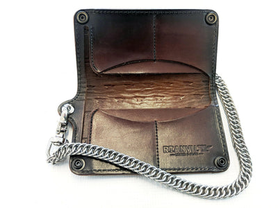 Long Biker Leather Chain Wallet - Anvil Customs