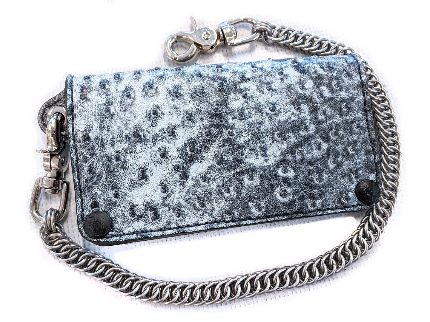 Long Biker Leather Chain Wallet - Gray Wash Ostrich