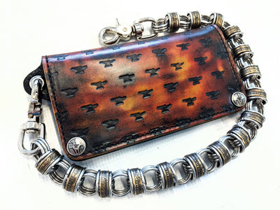 Long Biker Leather Chain Wallet - Inferno - Anvil Customs