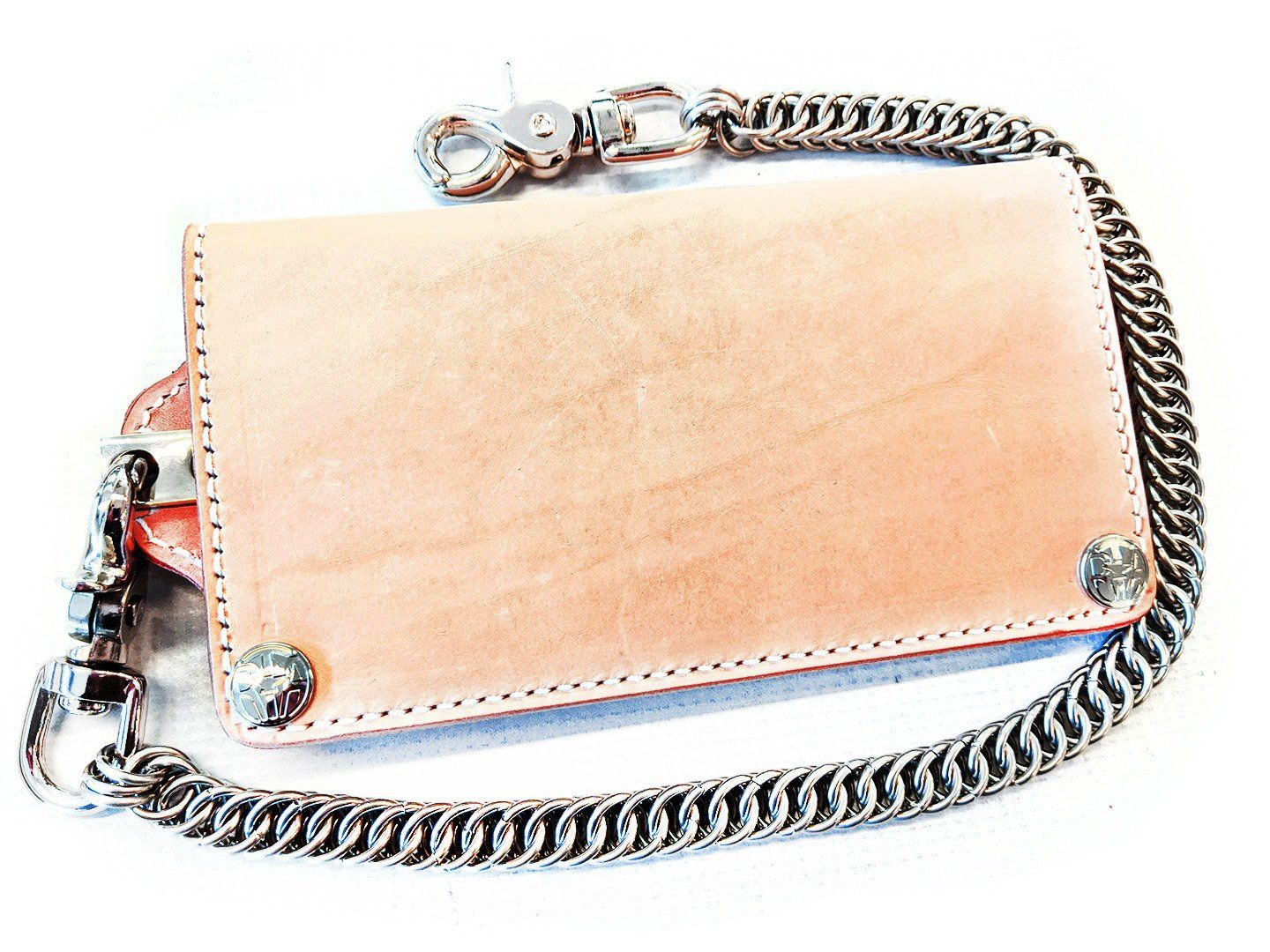 Long Biker Leather Chain Wallet - Natural Cowhide