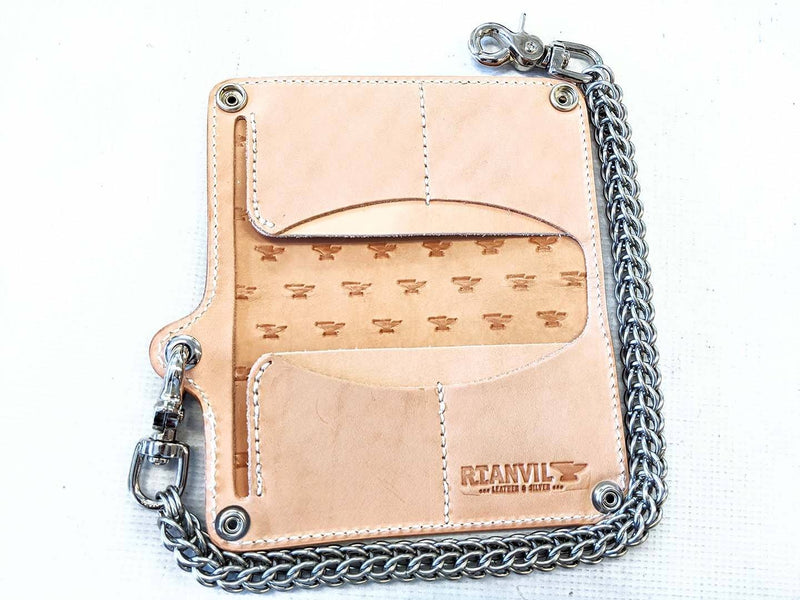 Gen 3 Long Biker Leather Chain Wallet - Natural Cowhide - Anvil Customs