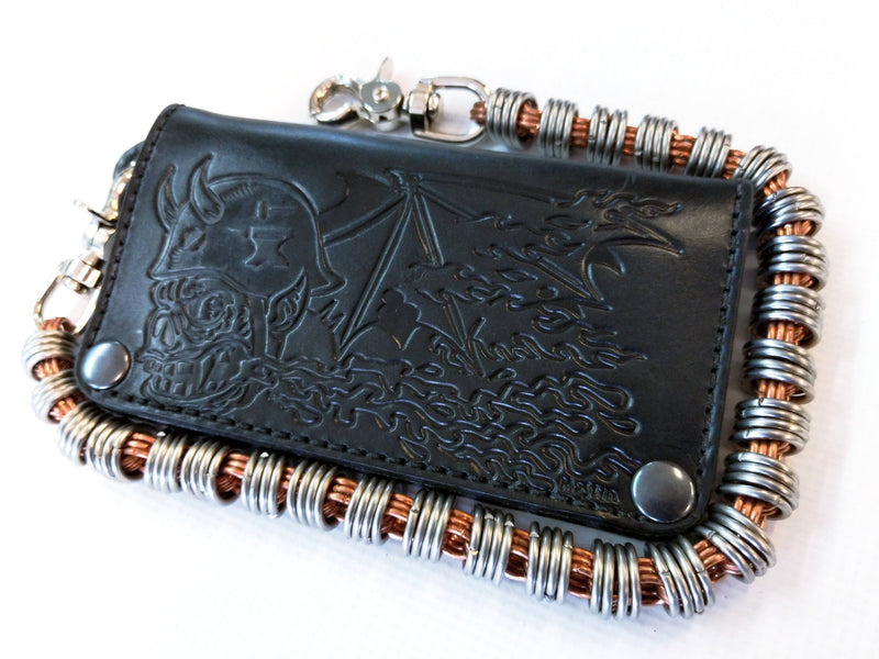 Long Biker Leather Chain Wallet - Orc Rider - Anvil Customs