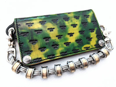 Long Biker Leather Chain Wallet - Radioactive - Anvil Customs