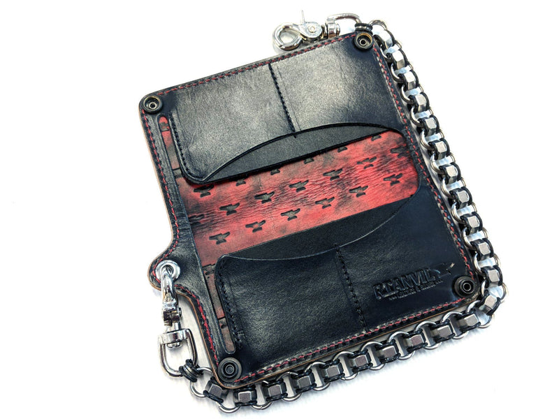 Long Biker Leather Chain Wallet - Red and Black Iron Cross - Anvil Customs