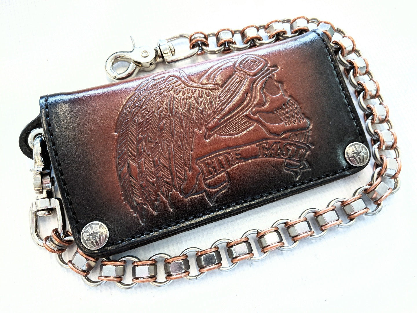 Long Biker Leather Chain Wallet - Ride Fast Skull - Anvil Customs