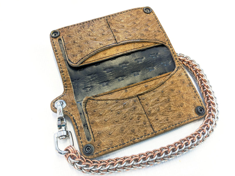 Long Biker Leather Chain Wallet - Tan Full Quill Ostrich