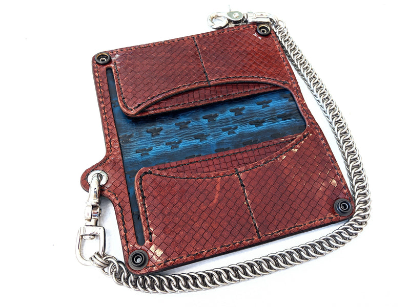 Long Biker Leather Chain Wallet - Turquoise Alligator 1 - Anvil Customs
