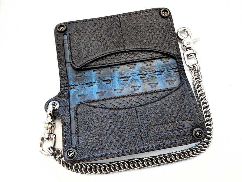 Long Biker Leather Chain Wallet - Turquoise Alligator 3 - Anvil Customs
