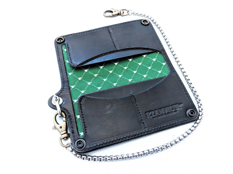 Long Biker Leather Chain Wallet - Verde - Anvil Customs