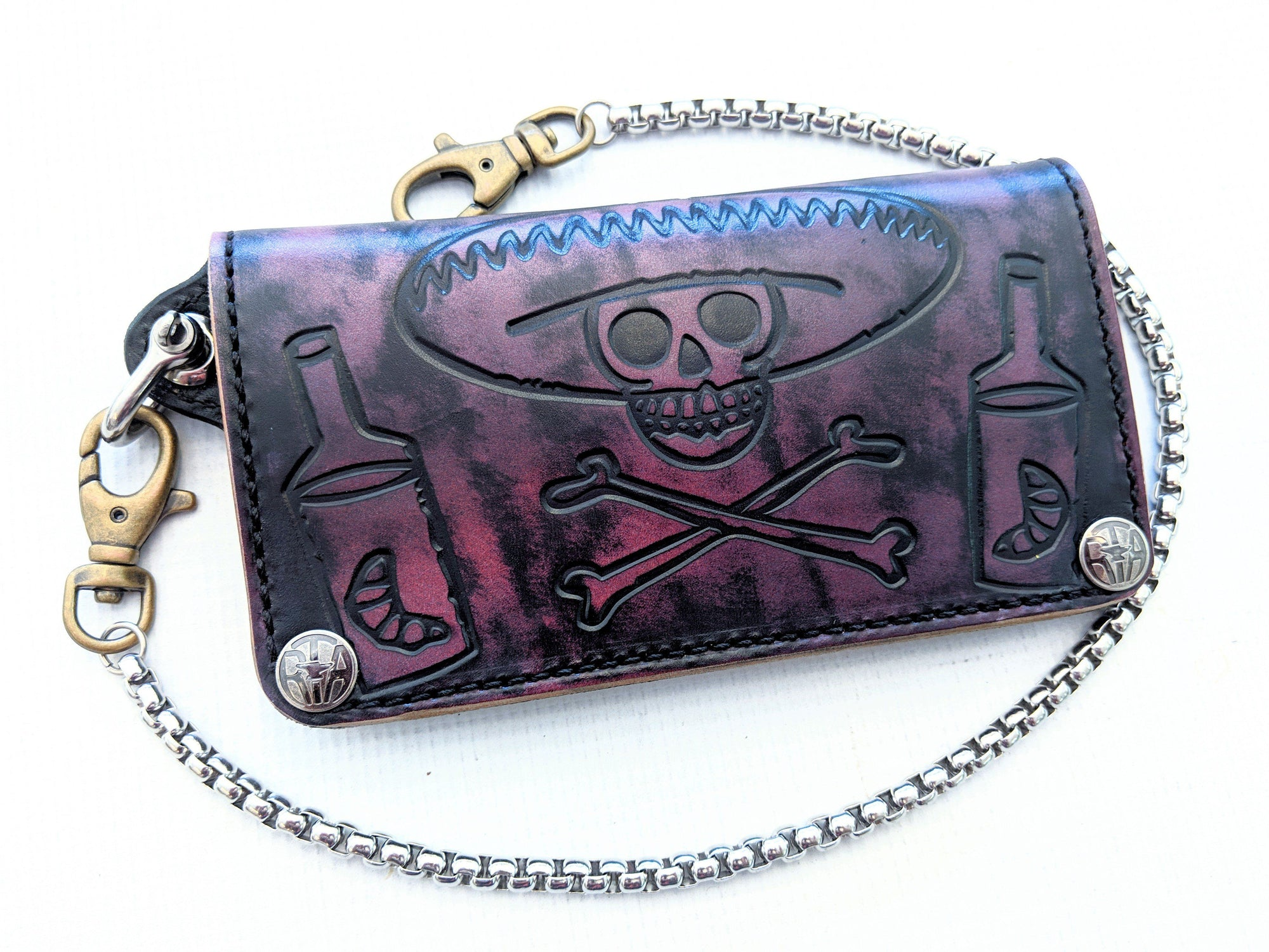 Long Biker Leather Chain Wallet - Violeta - Anvil Customs