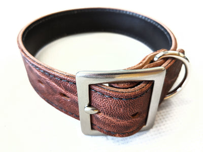 Medium/Large Leather Dog Collar - Brown Elephant - Anvil Customs