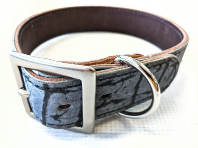 Medium/Large Leather Dog Collar - Denim Blue Giraffe - Anvil Customs