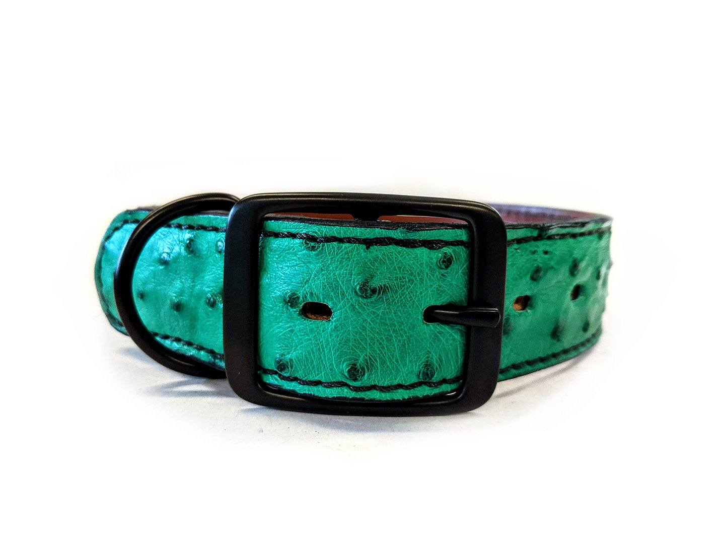 Medium/Large Leather Dog Collar - Green Ostrich