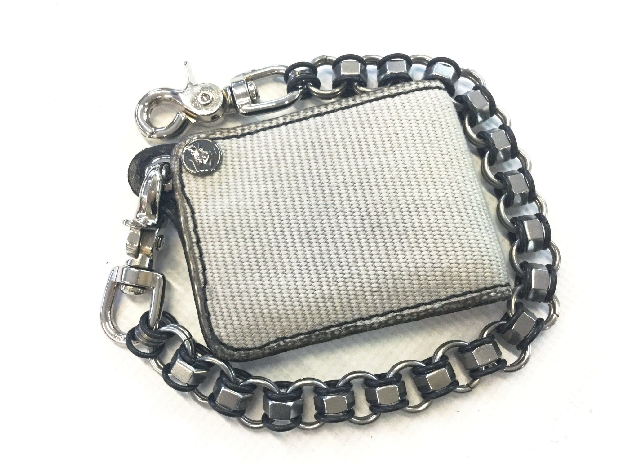 Mini Bifold Fire Hose Chain Wallet - White - Anvil Customs