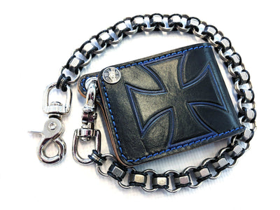 Mini Bifold Leather Chain Wallet - Blue and Black Iron Cross - Anvil Customs