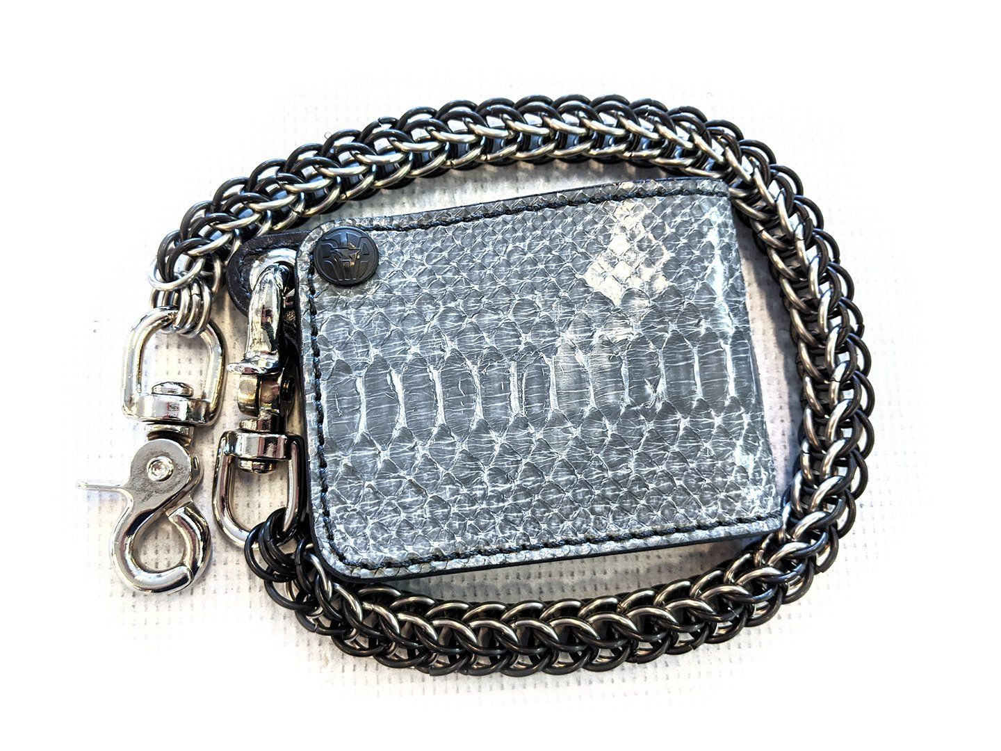 Mini Bifold Leather Chain Wallet - Earl Grey Python