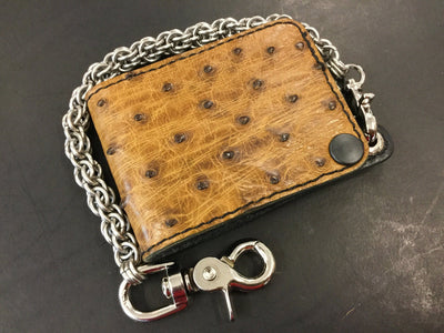 Mini Bifold Leather Chain Wallet - Ostrich Quill - Anvil Customs
