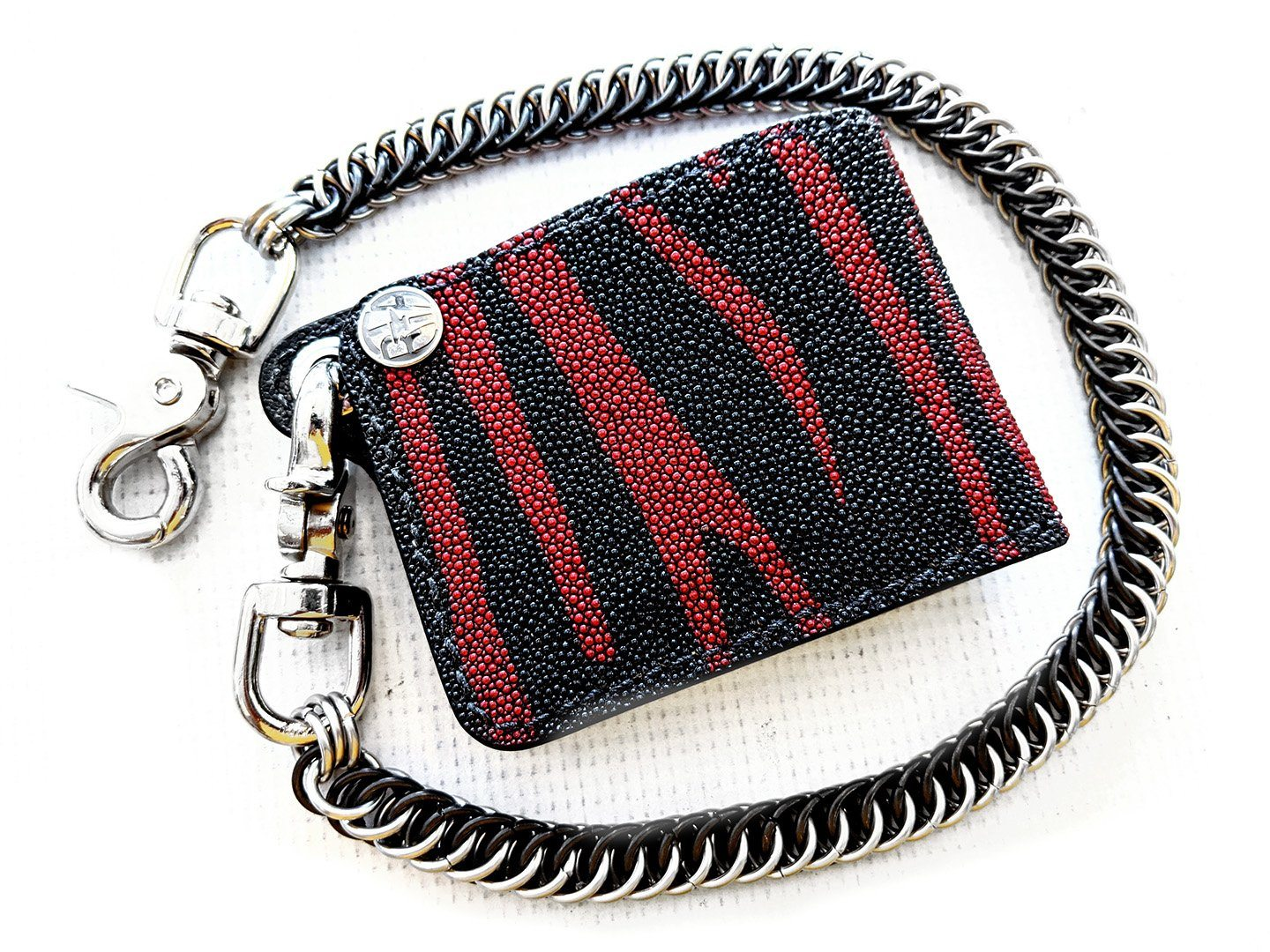 Mini Bifold Leather Chain Wallet - Red/Black Stingray 1 - Anvil Customs