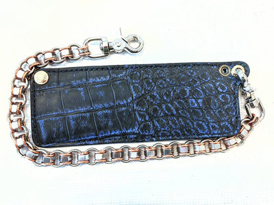 "Mini Bifold Leather Chain Wallet - ""ShadowBlue"" Alligator - Anvil Customs"