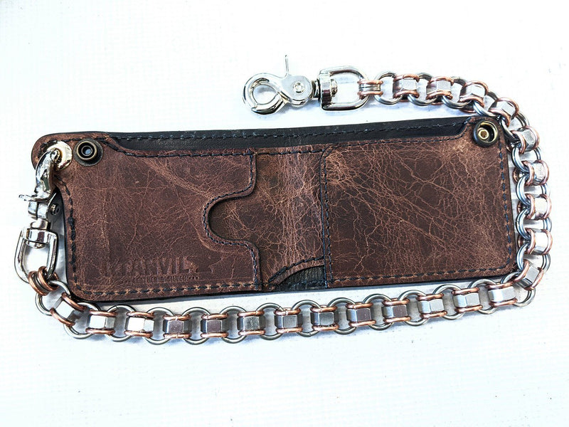 "Mini Bifold Leather Chain Wallet - ""ShadowBlue"" Alligator"