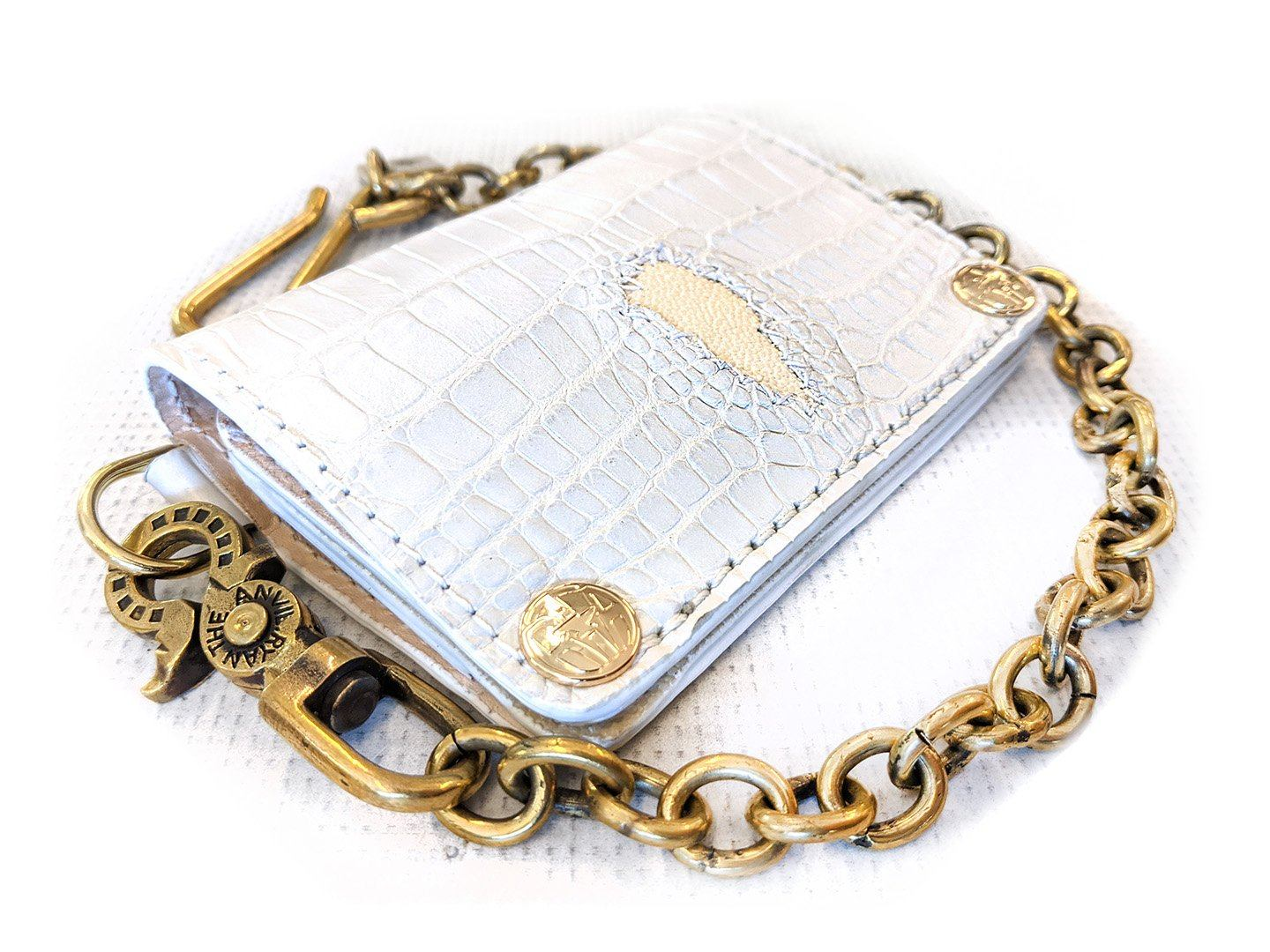 Mini Long Chain Wallet - White Alligator with Stingray Inlay