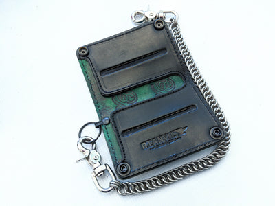 Mini Long Leather Chain Wallet - Antique Green Alligator - Anvil Customs