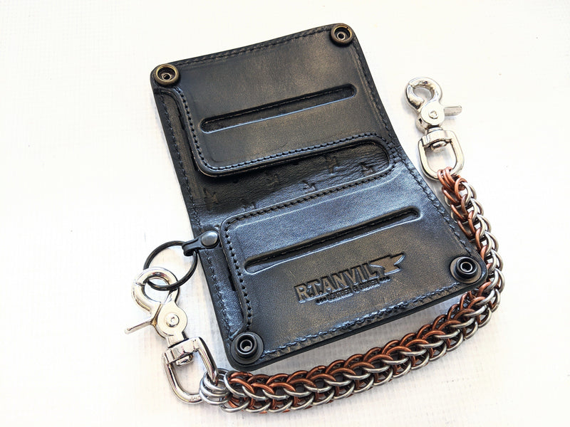 Mini Long Leather Chain Wallet - Coffee Brown Python - Anvil Customs