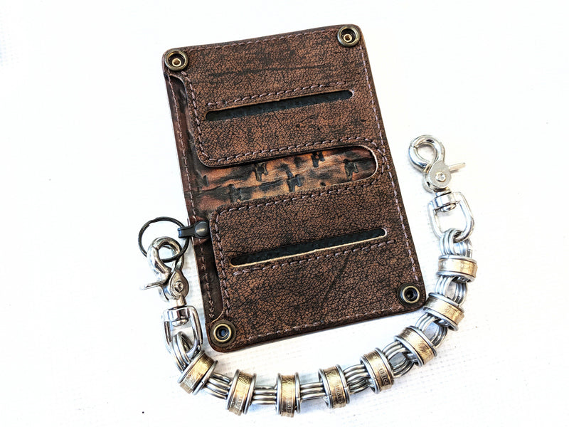 Mini Long Leather Chain Wallet - Cognac Elephant - Anvil Customs