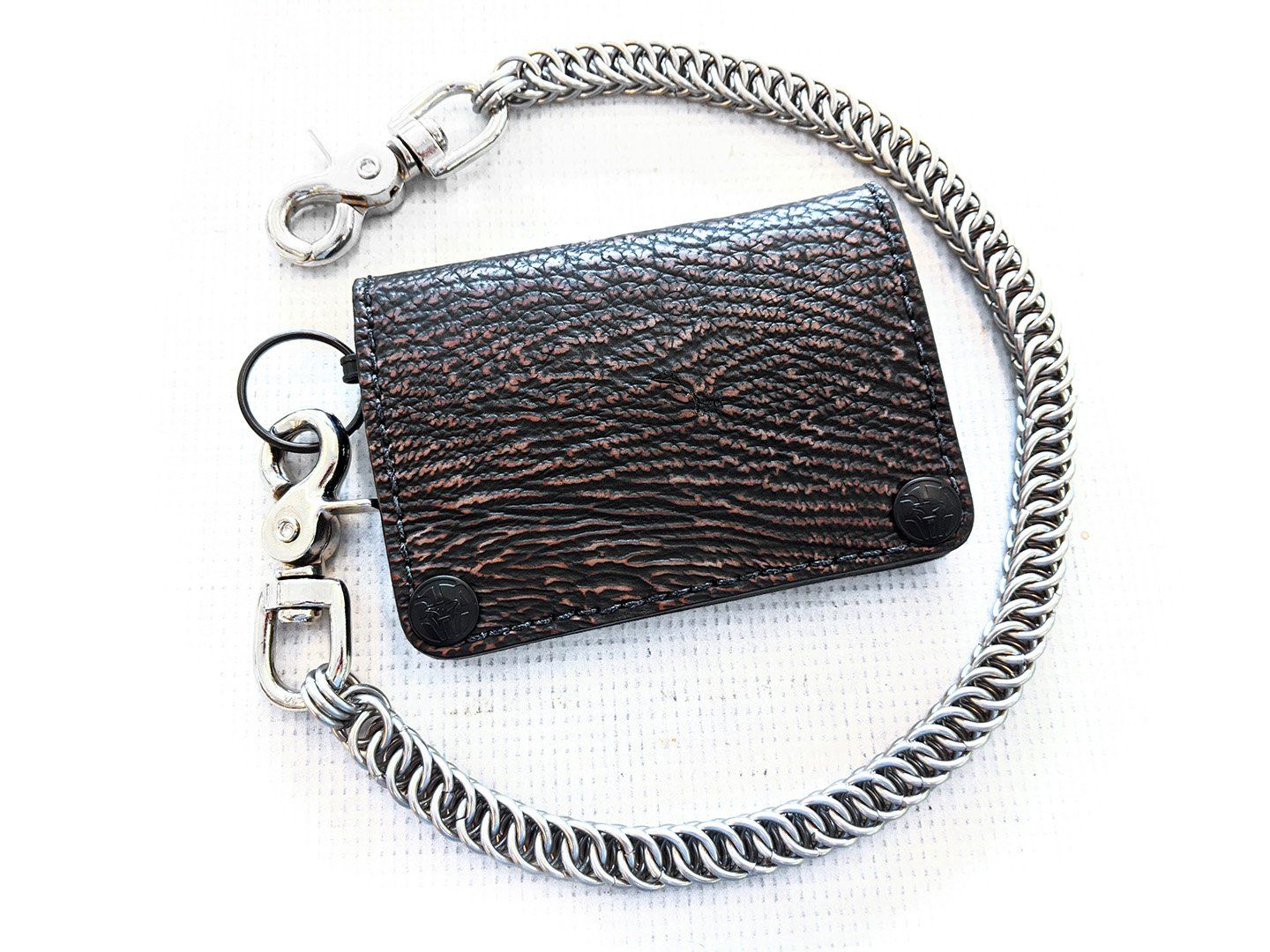 Mini Long Leather Chain Wallet - Dark Brown Shark