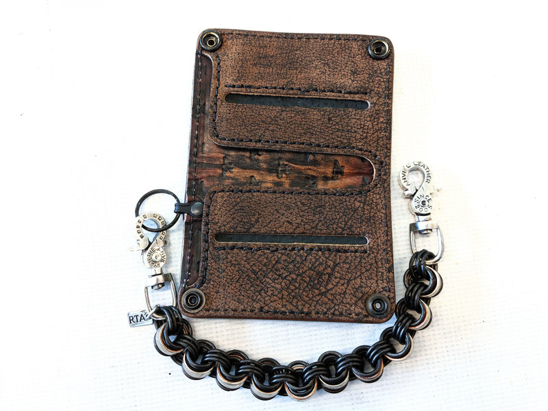 Mini Long Leather Chain Wallet - Flat Black Elephant - Anvil Customs