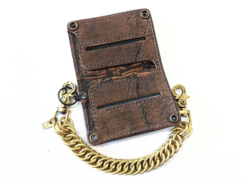 Mini Long Leather Chain Wallet - Gold Rush Elephant 1 - Anvil Customs