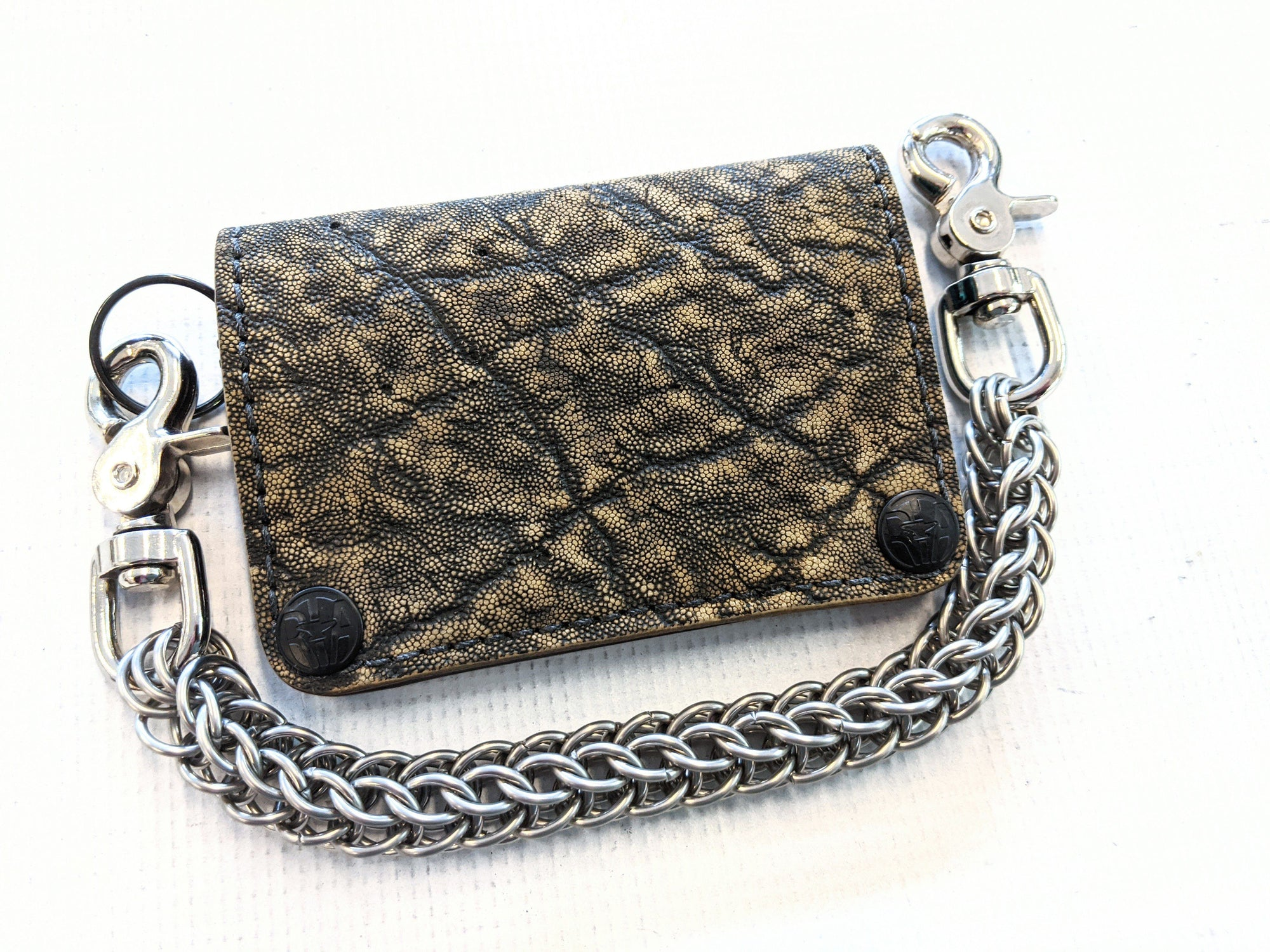 Mini Long Leather Chain Wallet - Gold Rush Elephant 2 - Anvil Customs