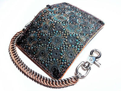 Mini Long Leather Chain Wallet - Kaleidoscope Cowhide - Anvil Customs