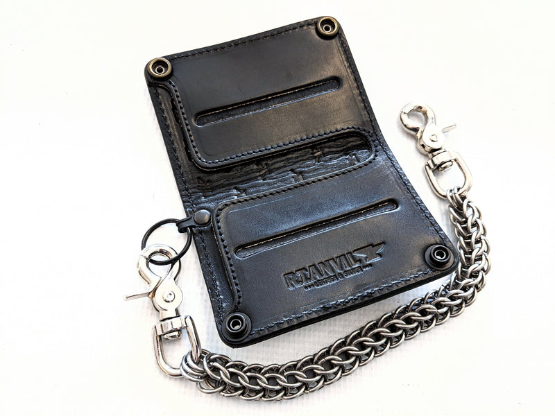 Mini Long Leather Chain Wallet - Karung Snake Skin