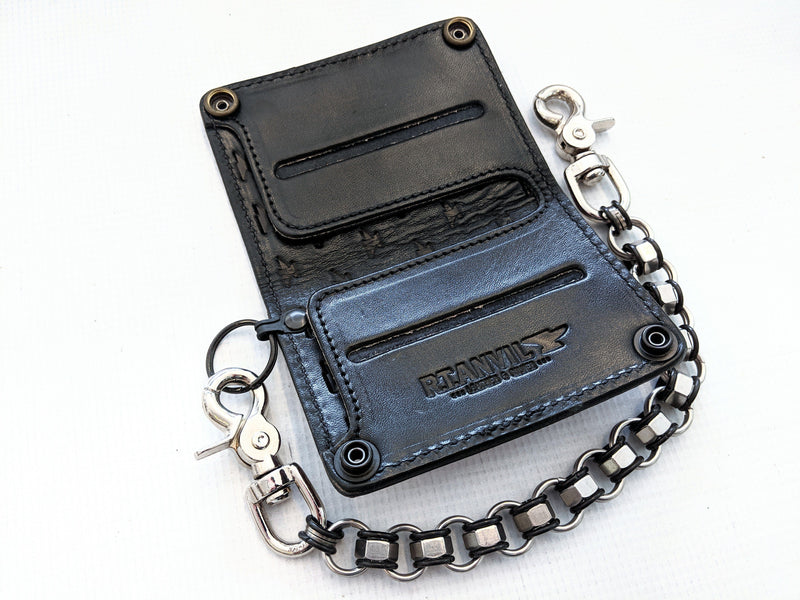 Mini Long Leather Chain Wallet - Red Python - Anvil Customs
