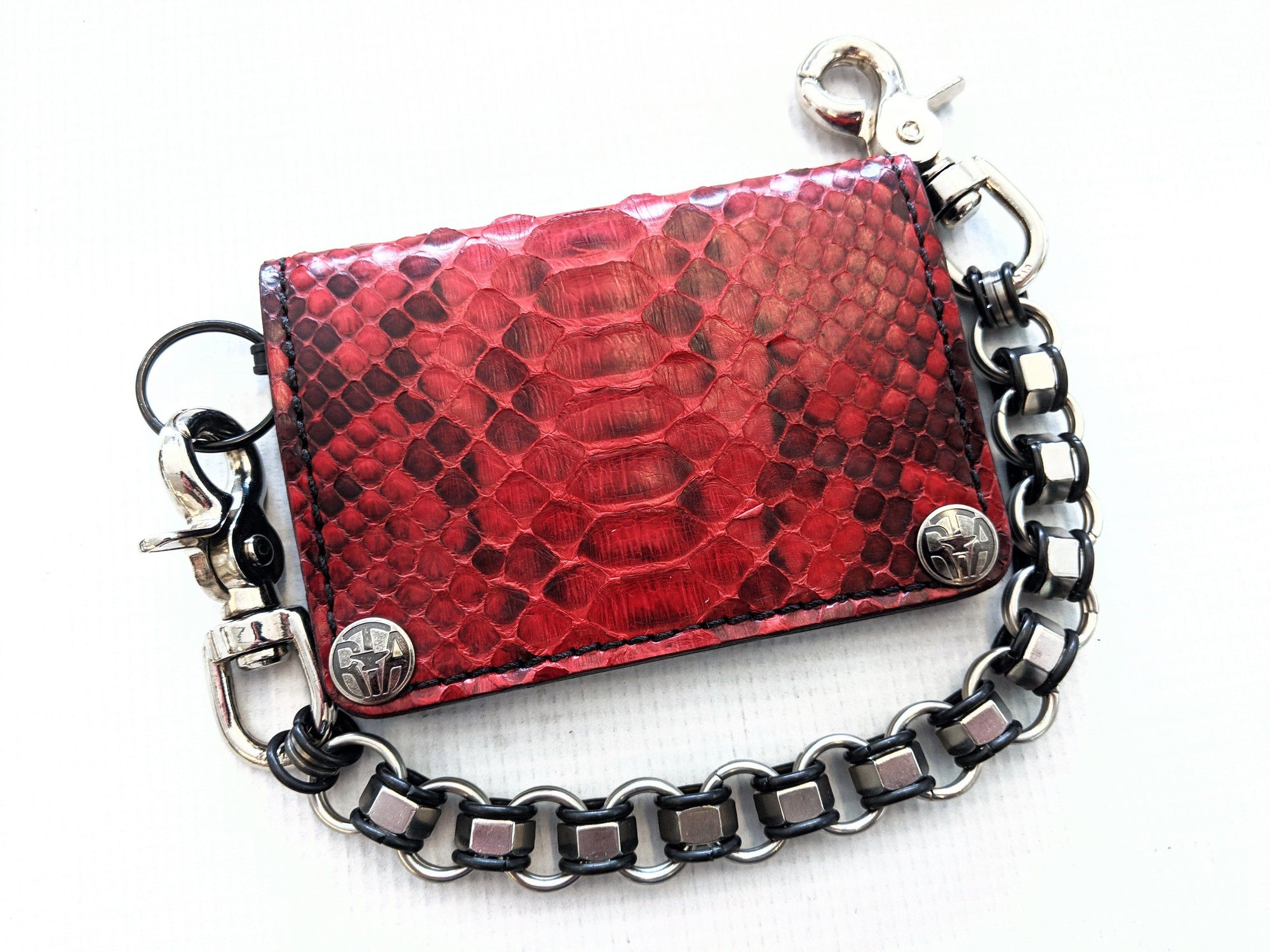 Mini Long Leather Chain Wallet - Red Python