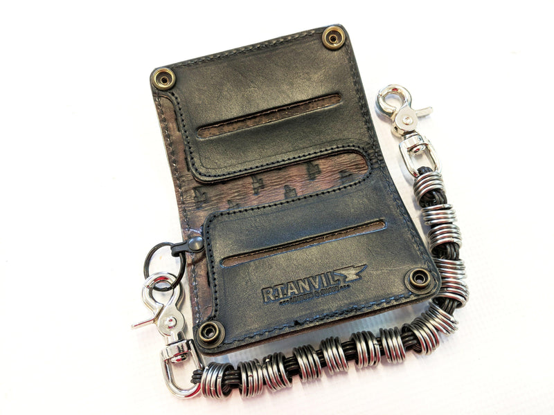 Mini Long Leather Chain Wallet - Turquoise Alligator 3 - Anvil Customs