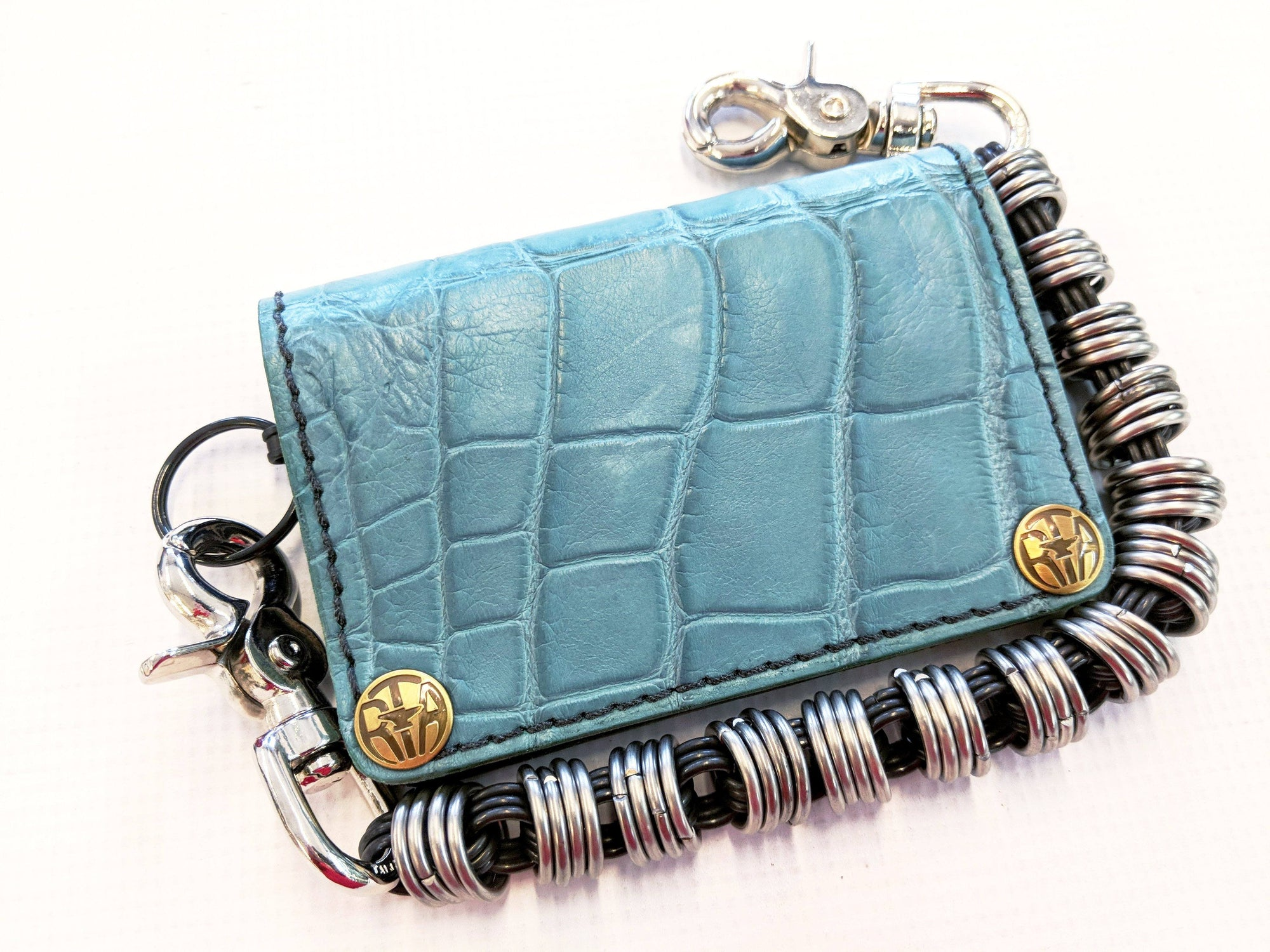 Mini Long Leather Chain Wallet - Turquoise Alligator 3