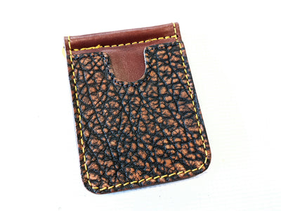 Money Clip Wallet - Cognac Elephant with Gold Stitch - Anvil Customs