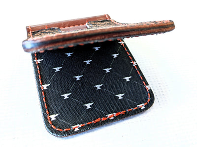 Money Clip Wallet - Cognac Elephant with Orange Stitch - Anvil Customs