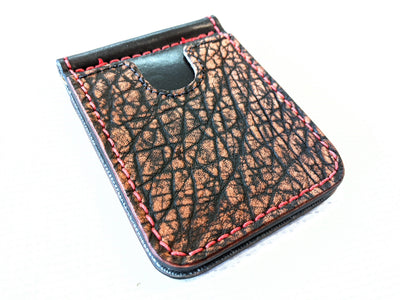 Money Clip Wallet - Cognac Elephant with Red Stitch
