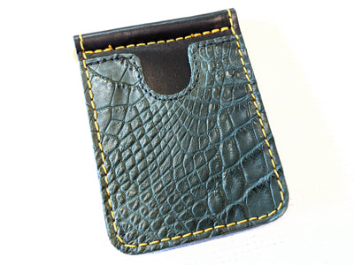 Money Clip Wallet - Forest Green Alligator with Gold Stitch - Anvil Customs