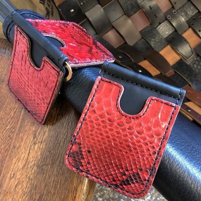 Red/Black Python Snakeskin Leather Money Clip Wallet - Anvil Customs