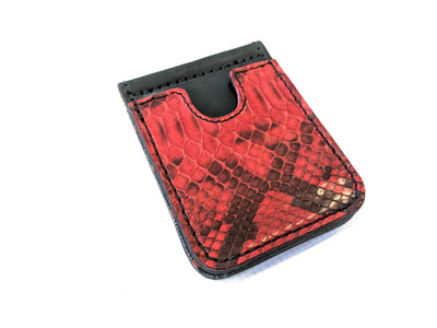 Money Clip Wallet - Red and Black Python