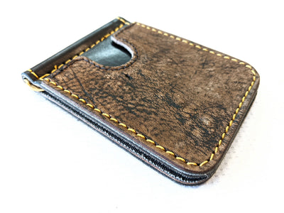 Money Clip Wallet - Safari Brown Giraffe with Gold Stitch - Anvil Customs