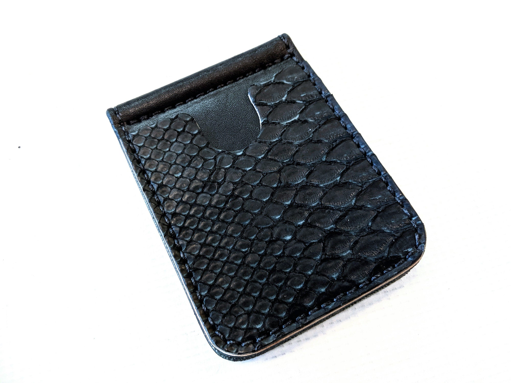 Money Clip Wallet - Vintage Black Python - Anvil Customs