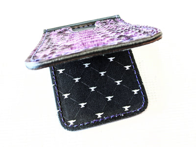Money Clip Wallet - Vintage Purple Python with Purple Stitch - Anvil Customs